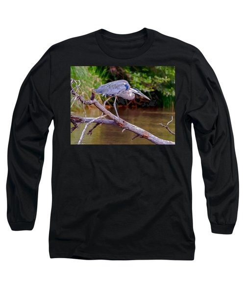 Painting Blue Heron Oak Creek Long Sleeve T-Shirt by Dr Bob Johnston