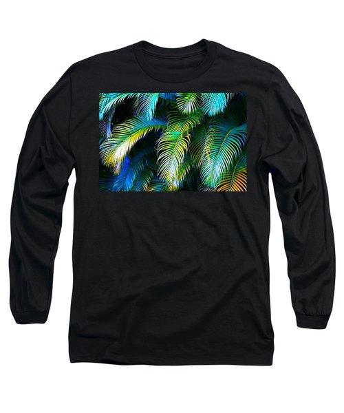 Palm Leaves In Blue Long Sleeve T-Shirt by Karon Melillo DeVega