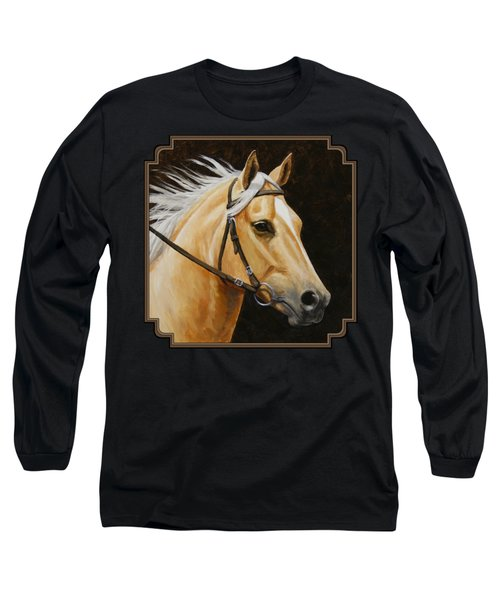 Palomino Horse Portrait Long Sleeve T-Shirt by Crista Forest