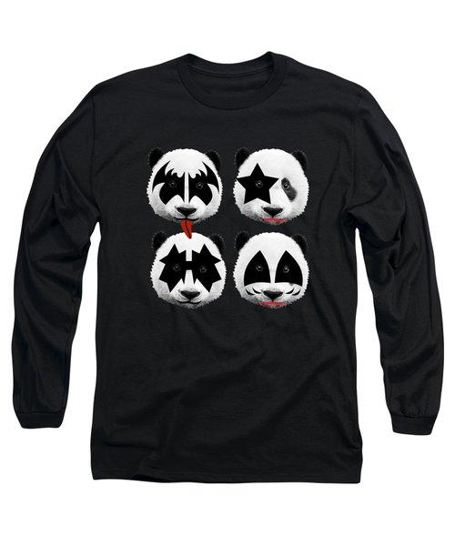 Panda Kiss  Long Sleeve T-Shirt by Mark Ashkenazi