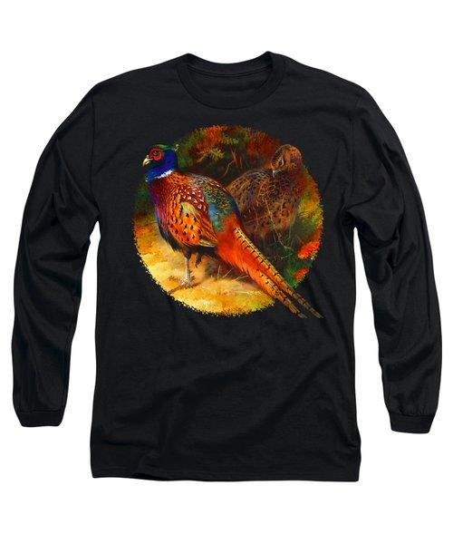 Pheasant Pair Long Sleeve T-Shirt by Raven SiJohn