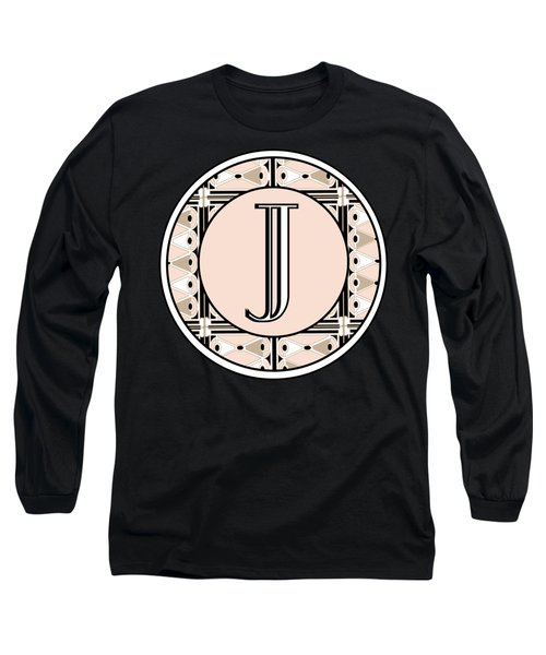 Pink Champagne Deco Monogram  J Long Sleeve T-Shirt by Cecely Bloom