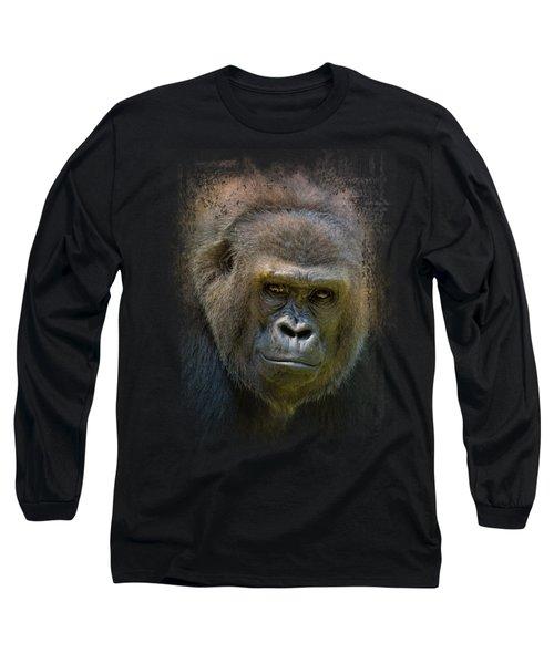 Portrait Of A Gorilla Long Sleeve T-Shirt by Jai Johnson