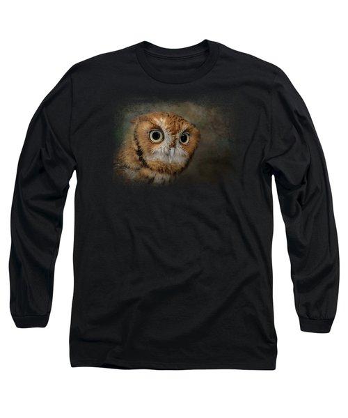 Portrait Of An Eastern Screech Owl Long Sleeve T-Shirt by Jai Johnson
