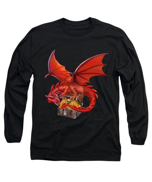 Red Dragon's Treasure Chest Long Sleeve T-Shirt by Glenn Holbrook