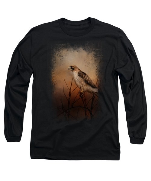 Red Tail In Wait Long Sleeve T-Shirt by Jai Johnson