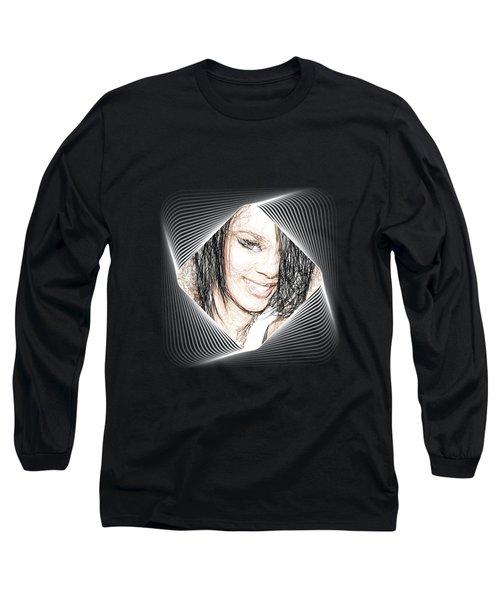 Rihanna - Pencil Art Long Sleeve T-Shirt by Raina Shah