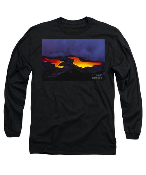 River Of Lava Long Sleeve T-Shirt by Peter French - Printscapes