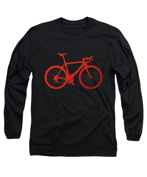 Road Bike Silhouette - Red On Black Canvas Long Sleeve T-Shirt by Serge Averbukh