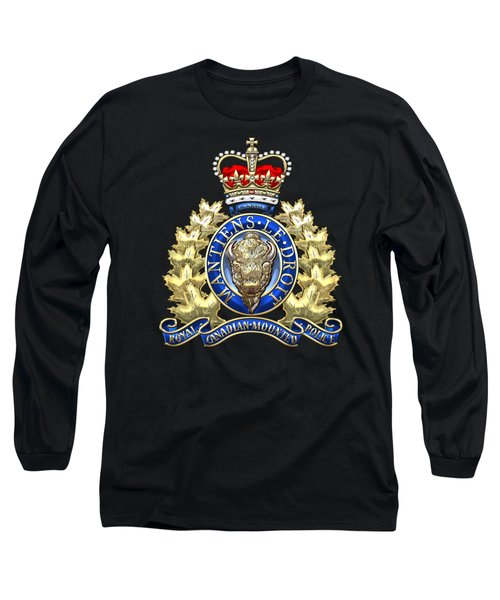 Royal Canadian Mounted Police - Rcmp Badge On Black Leather Long Sleeve T-Shirt by Serge Averbukh