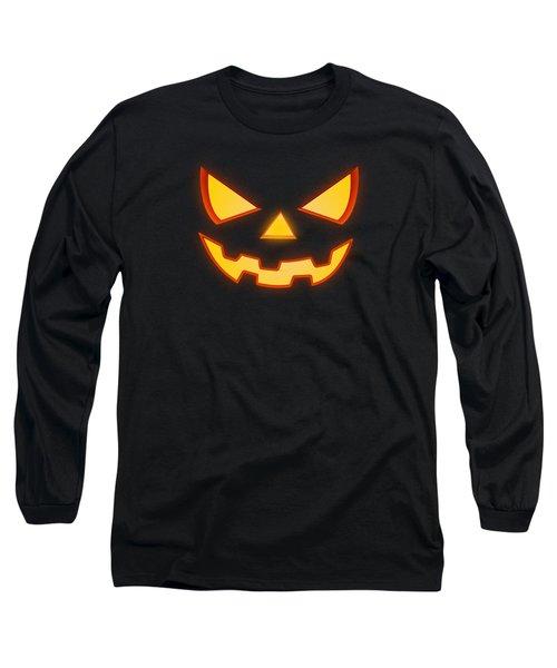 Scary Halloween Horror Pumpkin Face Long Sleeve T-Shirt by Philipp Rietz