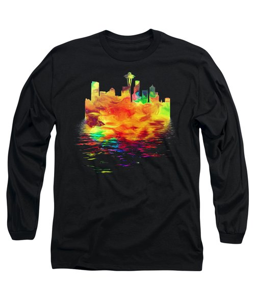 Seattle Skyline, Orange Tones On Black Long Sleeve T-Shirt by Pamela Saville