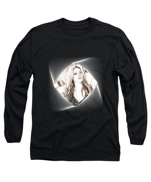 Shakira - Pencil Art Long Sleeve T-Shirt by Raina Shah