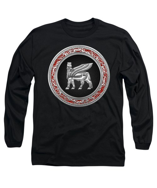 Silver Babylonian Winged Bull  Long Sleeve T-Shirt by Serge Averbukh