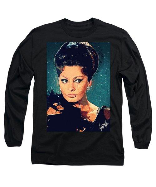Sophia Loren Long Sleeve T-Shirt by Taylan Apukovska