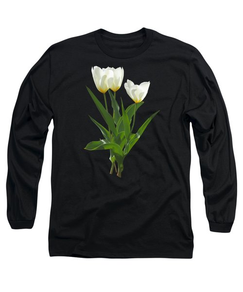 Spring - Backlit White Tulips Long Sleeve T-Shirt by Susan Savad