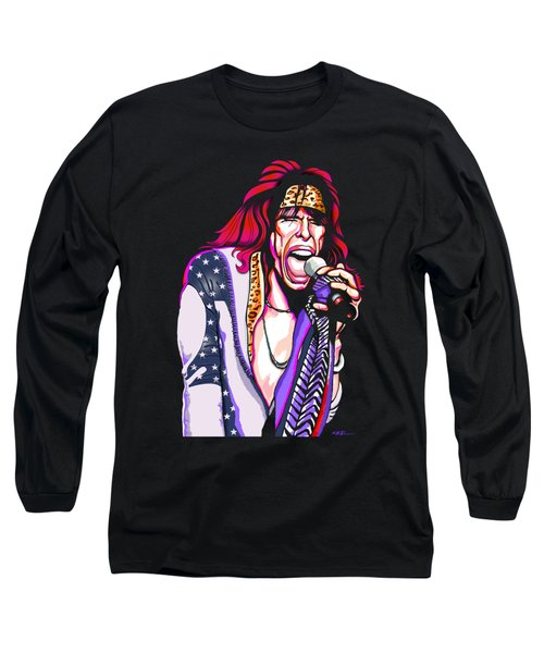 Steven Tyler Of Aerosmith Long Sleeve T-Shirt by GOP Art
