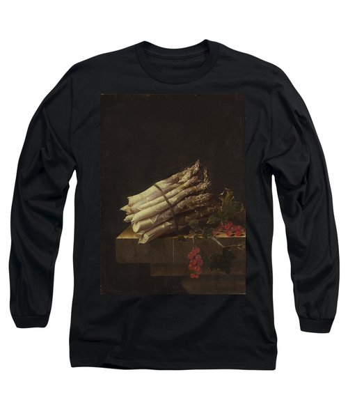 Still Life With Asparagus And Red Currants Long Sleeve T-Shirt by Adriaen Coorte