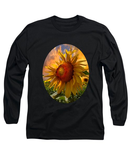 Sunflower Dawn In Oval Long Sleeve T-Shirt by Debra and Dave Vanderlaan