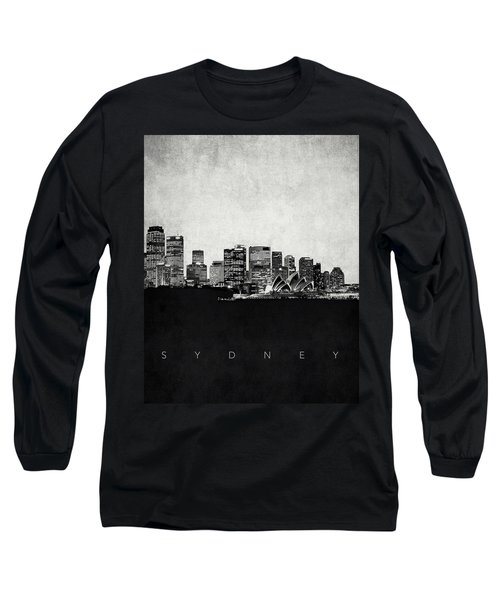 Sydney City Skyline With Opera House Long Sleeve T-Shirt by World Art Prints And Designs