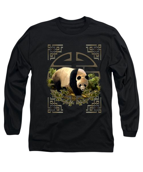 The Panda Bear And The Great Wall Of China Long Sleeve T-Shirt by Regina Femrite