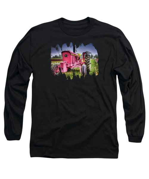 The Pink Tractor At The Wooden Shoe Tulip Farm Long Sleeve T-Shirt by Thom Zehrfeld