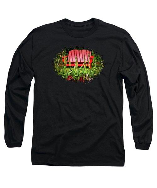 The Red Garden Bench Long Sleeve T-Shirt by Thom Zehrfeld