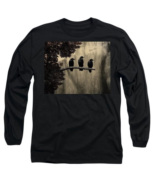 Three Ravens Long Sleeve T-Shirt by Gothicolors Donna