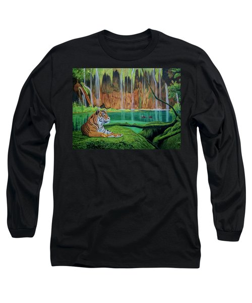 Tiger At The Waterfall  Long Sleeve T-Shirt by Manuel Lopez