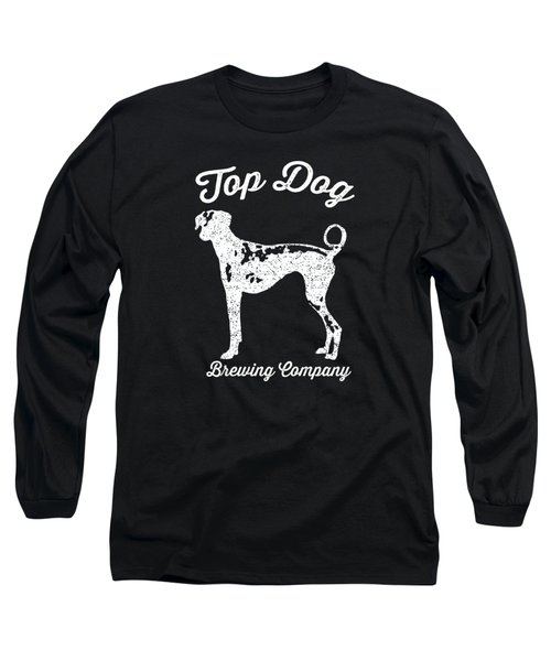 Top Dog Brewing Company Tee White Ink Long Sleeve T-Shirt by Edward Fielding