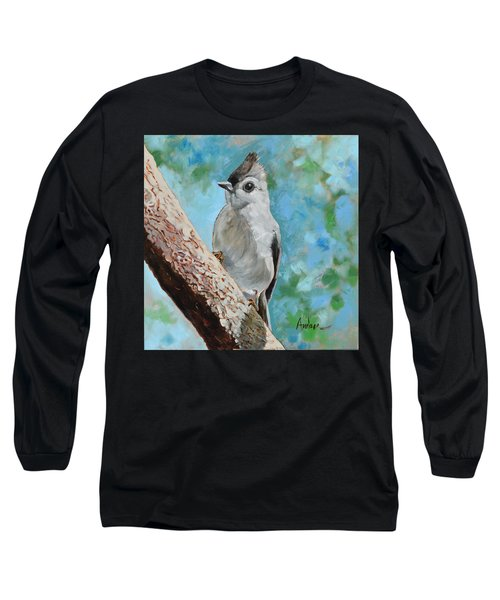 Tufted Titmouse #1 Long Sleeve T-Shirt by Amber Foote