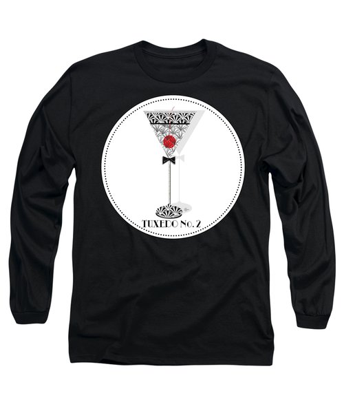 Tuxedo No. 2 Deco Swing Cocktail Long Sleeve T-Shirt by Cecely Bloom