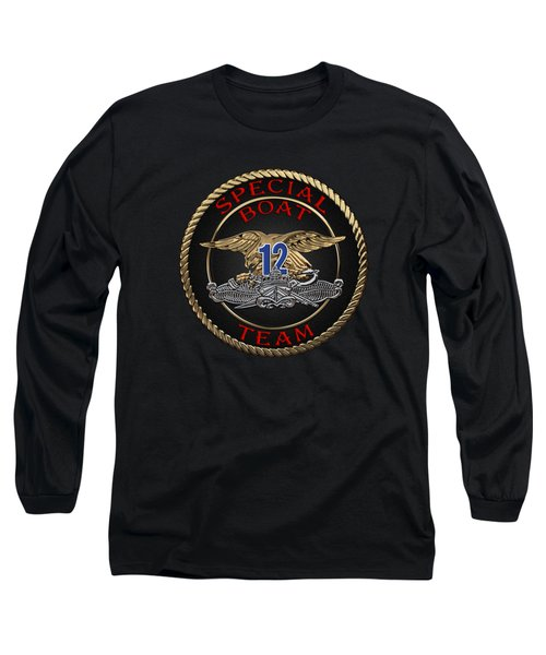 U. S. Navy S W C C - Special Boat Team 12   -  S B T 12  Patch Over Black Velvet Long Sleeve T-Shirt by Serge Averbukh