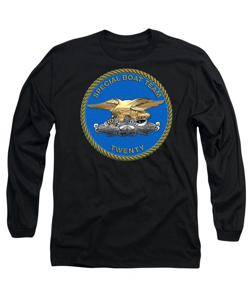 U. S. Navy S W C C - Special Boat Team 20   -  S B T 20   Patch Over Black Velvet Long Sleeve T-Shirt by Serge Averbukh