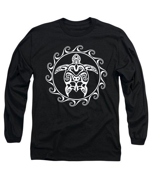 White Tribal Turtle Long Sleeve T-Shirt by Chris MacDonald