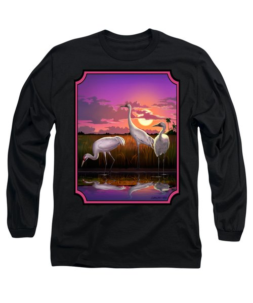 Whooping Cranes Tropical Florida Everglades Sunset Birds Landscape Scene Purple Pink Print Long Sleeve T-Shirt by Walt Curlee