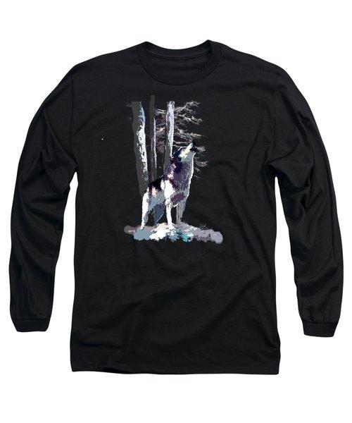 Wolf  Howling Memory Long Sleeve T-Shirt by Regina Femrite