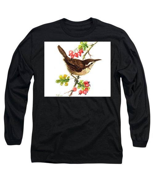 Wren And Rosehips Long Sleeve T-Shirt by Nell Hill