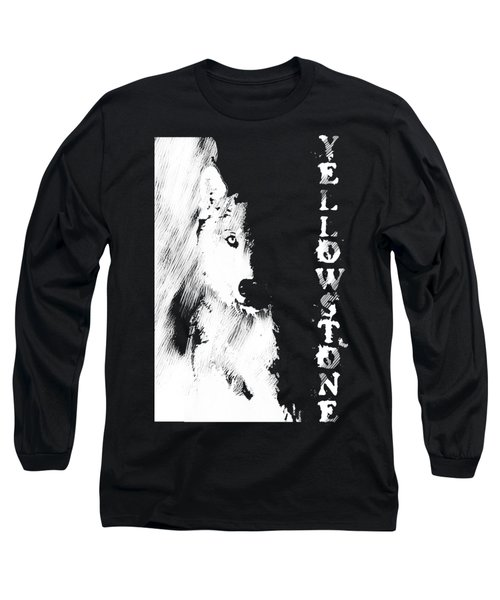 Yellowstone Wolf T-shirt Long Sleeve T-Shirt by Max Waugh