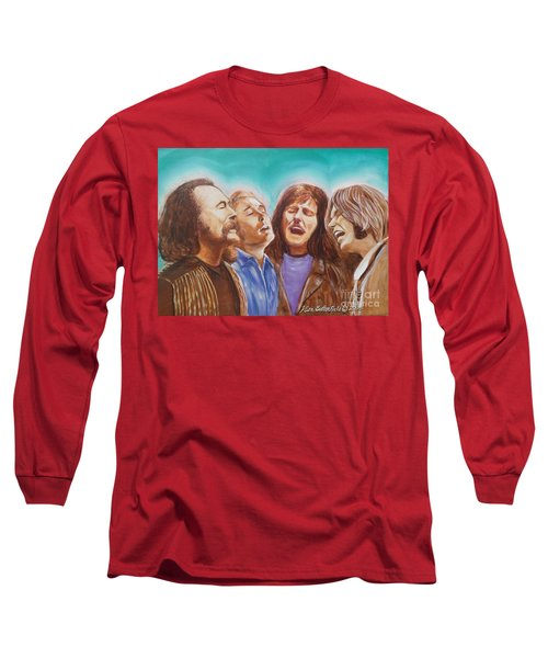 Crosby Stills Nash And Young Long Sleeve T-Shirt by Kean Butterfield