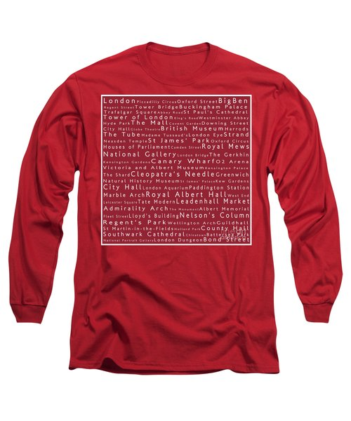 London In Words Red Long Sleeve T-Shirt by Sabine Jacobs