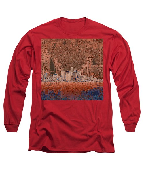 Los Angeles Skyline Abstract 7 Long Sleeve T-Shirt by Bekim Art