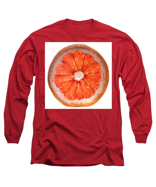 Red Grapefruit Long Sleeve T-Shirt by Steve Gadomski