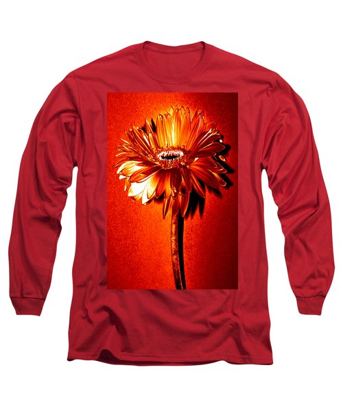 Tequila Sunrise Zinnia Long Sleeve T-Shirt by Sherry Allen