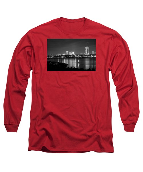 Tulsa In Black And White - University Tower View Long Sleeve T-Shirt by Gregory Ballos