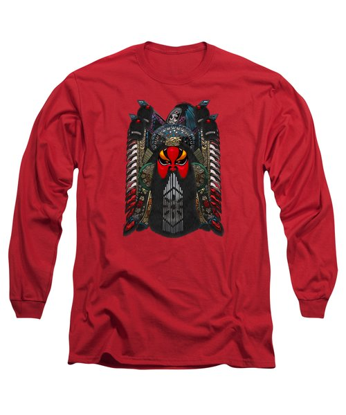 Chinese Masks - Large Masks Series - The Red Face Long Sleeve T-Shirt by Serge Averbukh