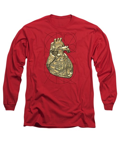 Heart Of Gold - Golden Human Heart On Red Canvas Long Sleeve T-Shirt by Serge Averbukh