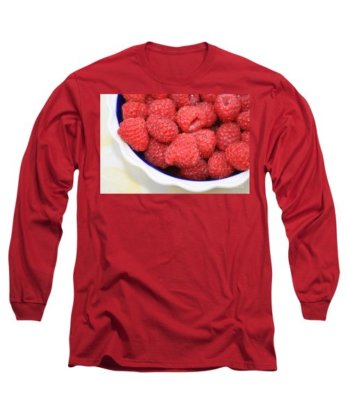 Raspberries In Polish Pottery Bowl Long Sleeve T-Shirt by Carol Groenen