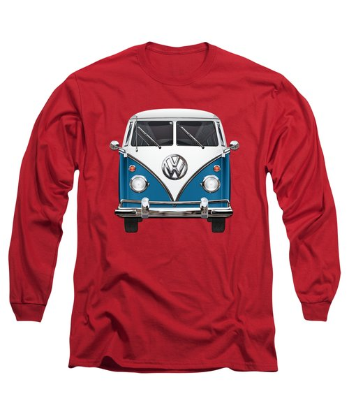 Volkswagen Type 2 - Blue And White Volkswagen T 1 Samba Bus Over Orange Canvas  Long Sleeve T-Shirt by Serge Averbukh