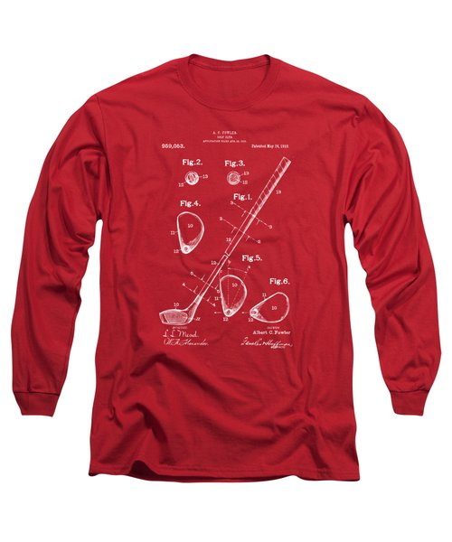 1910 Golf Club Patent Artwork Red Long Sleeve T-Shirt by Nikki Marie Smith